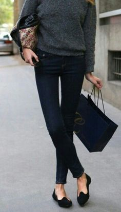 soft grey sweater, skinny jeans & smoking shoes