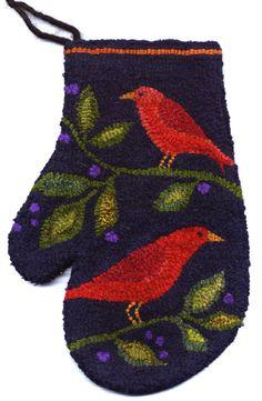 Bird Mitten Original Hooked Rug Pattern by maryellenwolffdesign