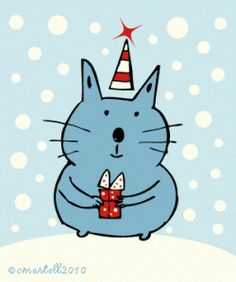 Cute Christmas Cat Art