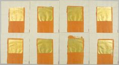 James Lee Byars, Nineteen Square Sheets of Cream Tissue Paper, Each with a Rectangular Patch of Orange Paint and a Square of Gold Foil Pasted on Top and Gold Pencil Text on the Foil, 1979-1980, Harvard Art Museums/Fogg Museum.