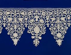 This is another original Italian design of the Baroque era. It was done around 1600-1620. I would replicate this design into Miranda's costume as it would prove the historical time period of the play. The visual representation of touch is indicated here, and it seems soft and delicately woven. [ITALY: Border 1600-20 linen (needle lace) (punto in aria), 20.3 x 137.1 cm, National Gallery of Victoria, Melbourne]