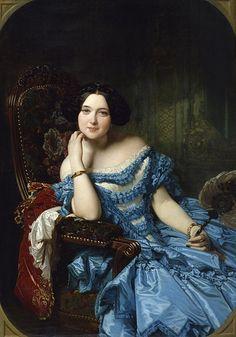 Amalia de Llano y Dotres, condesa de Vilches (Federico de Madrazo) condesa de, de madrazo, fabric painting, art, amalia, beauty, federico de, de llano, blues