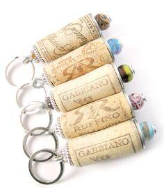 Wine cork keychain.
