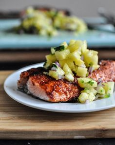 BBQ spiced salmon with pineapple jalapeno salsa