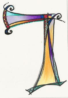 Dabbling in whimsical Hebrew letters. Hebrew Dalet by Allison Carter