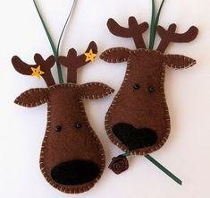 Reindeer Felt Christmas Tree Ornaments  Set of by LollybrightToys, $14.00