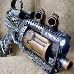 Steampunk Gun Nerf Maverick NStrike by oldjunkyardboutique on Etsy, $39.99
