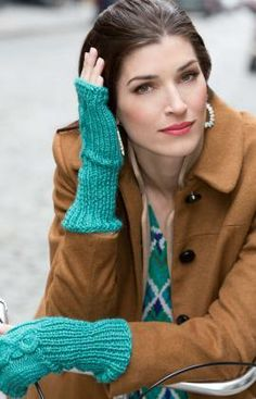 Cabled Wristers Free Knitting Pattern from Red Heart Yarns