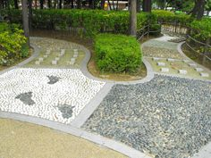 Barefoot path of various textures. Also  sections of grass, mud, mulch, & shallow cool water.