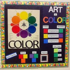 color schemes, color idea, color bulletin, art room bulletin board