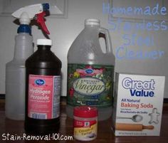 Homemade stainless steel cleaner and polish recipes {on Stain Removal 101} charm, cleanses, stainless cleaner, spray bottlework, organ, homemad stainless, sink, steel cleaner, clean spray