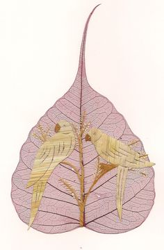 Parrots  No two leaf or leaf art alike  LOVE Birds by museumshop, $6.00  Valentine LOVE Birds Limited Edition Unique Leaf art by museumshop, $8.99  No two leaves or leaf art exactly alike.  Handmade leaf art COLLECTIBLE.  An original work of art !!