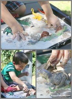 Sandy Oobleck Recipe- A fun sensory material that kids can help make! (Perfect for dinosaur or car play too!)~ BuggyandBuddy.com