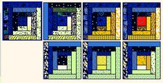 Log cabin quilt block pattern tutorial