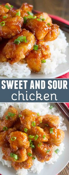 Skip the take out - this Sweet and Sour Chicken Recipe is so good that you'll put it on the permanent rotation. Chicken is coated in a sweet and sticky sauce and baked to perfection. #chicken #chinesefoodrecipes #easyrecipe #dinner