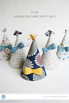 No Sew Garden Girl Fabric Party Hats cut with the Silhouette #SilhouetteDesignTeam #Cloud9Fabrics