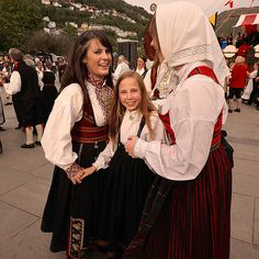 "Visit Bergen the 17th May and experience how the people celebrate the Norwegian Constitution Day. There girls are dressed in the national costumes called ""bunad""."
