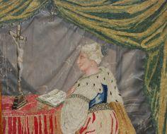 Klosterarbeit  M 19 Jhdt Holypicture Hl Johanna silk pearls painting