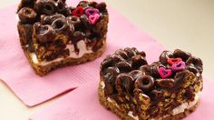 Chocolate Cheerios Marshmallow Hearts