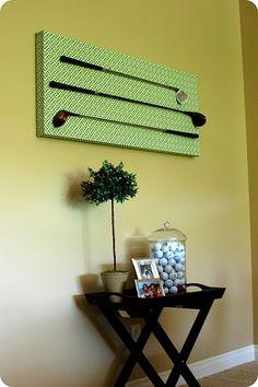 wall decor, balls, golf clubs, diy art, the office, art displays, art tutorials, shades of green, man caves