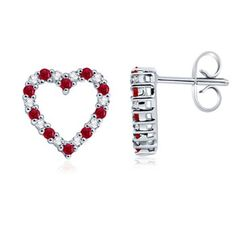 Round Ruby and Diamond Heart Earrings #Angara