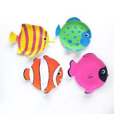 Paper Plate Tropical Fish craft for ocean theme.