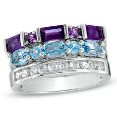 Amethyst, Blue Topaz, and White Sapphire Stack Ring
