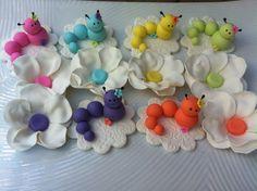 edible cupcake toppers caterpillar garden  theme. $18.00, via Etsy.