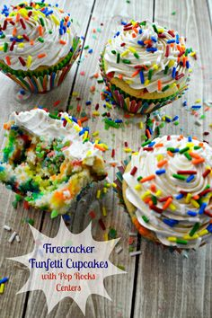 Firecracker Funfetti Cupcakes with Flour Frosting  Pop Rocks Centers #YoungAndHungry