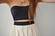 .Bralette and high-waisted skirt. Love.