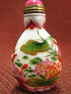 Chinese Peking Glass Snuff Bottle, Five Fish & Lotus Blossoms, Signed