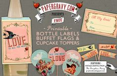 Crafts: Valentine's Printables: Bottle Labels, Flags & Cupcake Toppers @Karen Jacot Jacot - The Graphics Fairy