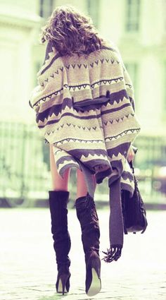 Navajo poncho and over-the-knee boots. Beautiful! {Follow @poppybarley on Twitter & Instagram, too}