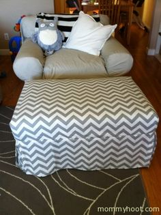 Super Easy DIY Chevron Print Ottoman Slipcover