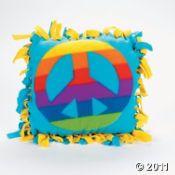peac sign, fleec peac, tie pillow, peace signs, craft kits, kid crafts, pillow crafts, pillows, sign tie