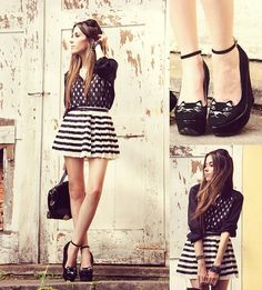 Dots and stripes! (by Flávia Desgranges van der Linden) http://lookbook.nu/look/4224025-Choies-Shoes-Indigo-Jeans-Shirt-Romwe-Skirt
