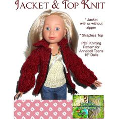 """VERY CUTE Jacket sweater with zip and top knitting pattern for 15"""" dolls like Annabell Tween"""