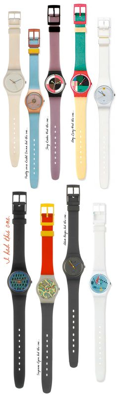 vintage Swatch watches... the paisley one with the red and black band was my first one :)