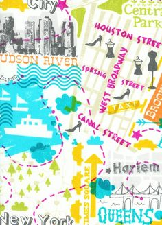 NYC map fabric. Has Queens on it :) - lining inspiration