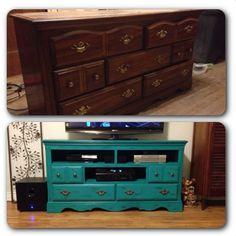 Dresser turned tv stand. Chalk paint