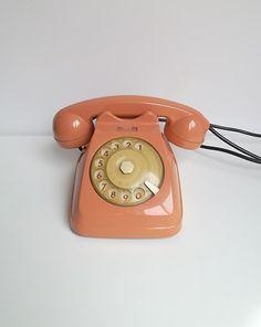 Vintage rotary phone, Pink dial phone, retro phone, Italian vintage salmon pink telephone via Etsy