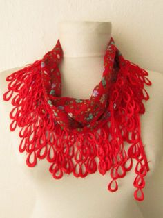 Traditional  Turkish Fabric Fringed RED  Guipure  by asuhan, $14.00