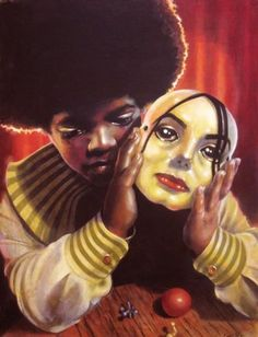 Tragedy! This painting adequately reflects how fame and eventually infamy; adversely affected The King of Pop. artists, mascara, happy birthdays, hard time, acrylics, mask, the artist, michael jackson, art music