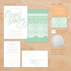 printed lace wedding invitation