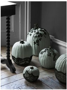 Spray glue lace details on white pumpkins #NIPumpkins