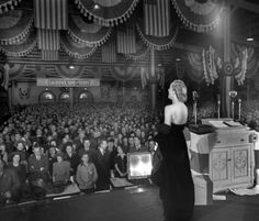Fort Wayne, Indiana gal, Carole Lombard, on the last night of her life, at Cadle Tabernacle in Indianapolis (On Ohio Street between New Jersey and Alabama Streets)- she was raising money for war bonds- January 15, 1942.