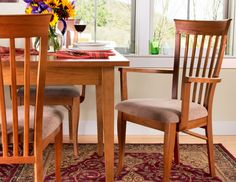 Your family and guests will dine in comfort and style in our high end, handmade Classic Shaker Chairs. These quality dining chairs feature a gently curved back that provides lumbar support for relaxation around the dining table.