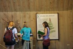 Biology students in the Visitors Center at Volo Bog.