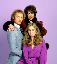 Tony Geary and Genie Francis (Luke and Laura Spencer) with Elizabeth Taylor as Helena Cassadine. General Hospital