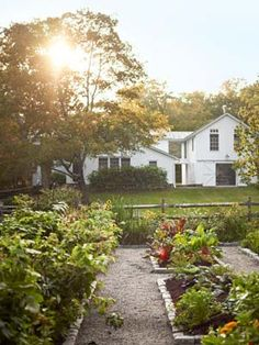 The kitchen garden — composed of raised beds edged with Belgian block stone.
